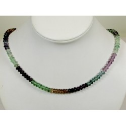 Collier fluorite multicolore en disque