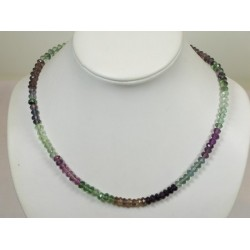 Collier fluorite multicolore faceté