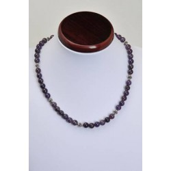 collier améthyste en perles rondes