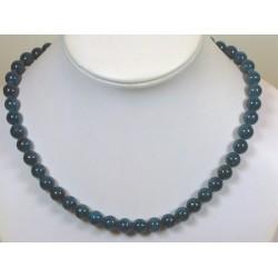 Collier apatite bleue sombre 10mm