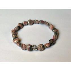 Bracelet rhodocrosite perles rondes plates