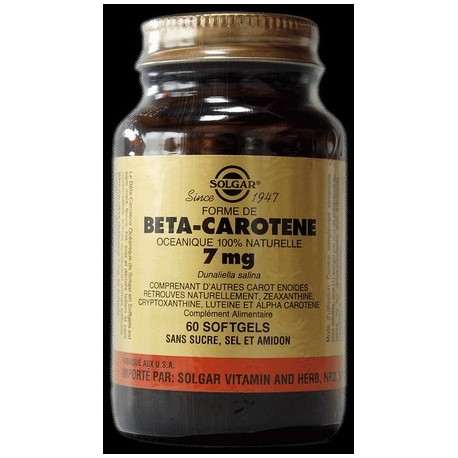 Béta caroténe 7mg protection de la peau