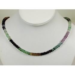 Collier fluorite multicolore en disque