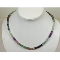 Collier fluorite multicolore faceté