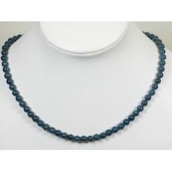 Collier apatite bleu sombre 6mm
